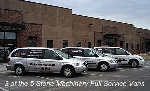 3 of the 5 Stone Machinery Full Service Vans